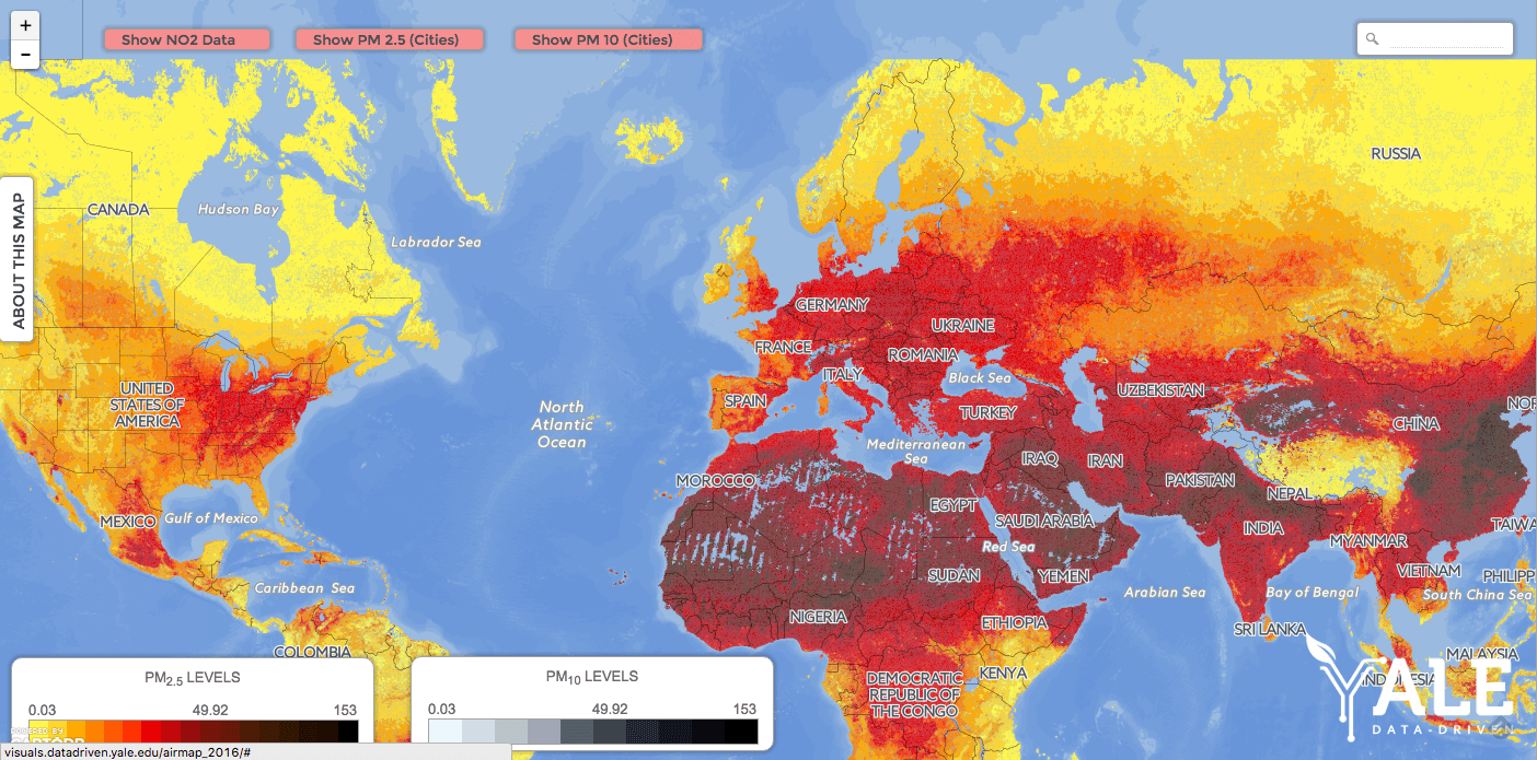 Interactive Air Pollution Map: Fine Particulates and Nitrogen Dioxide