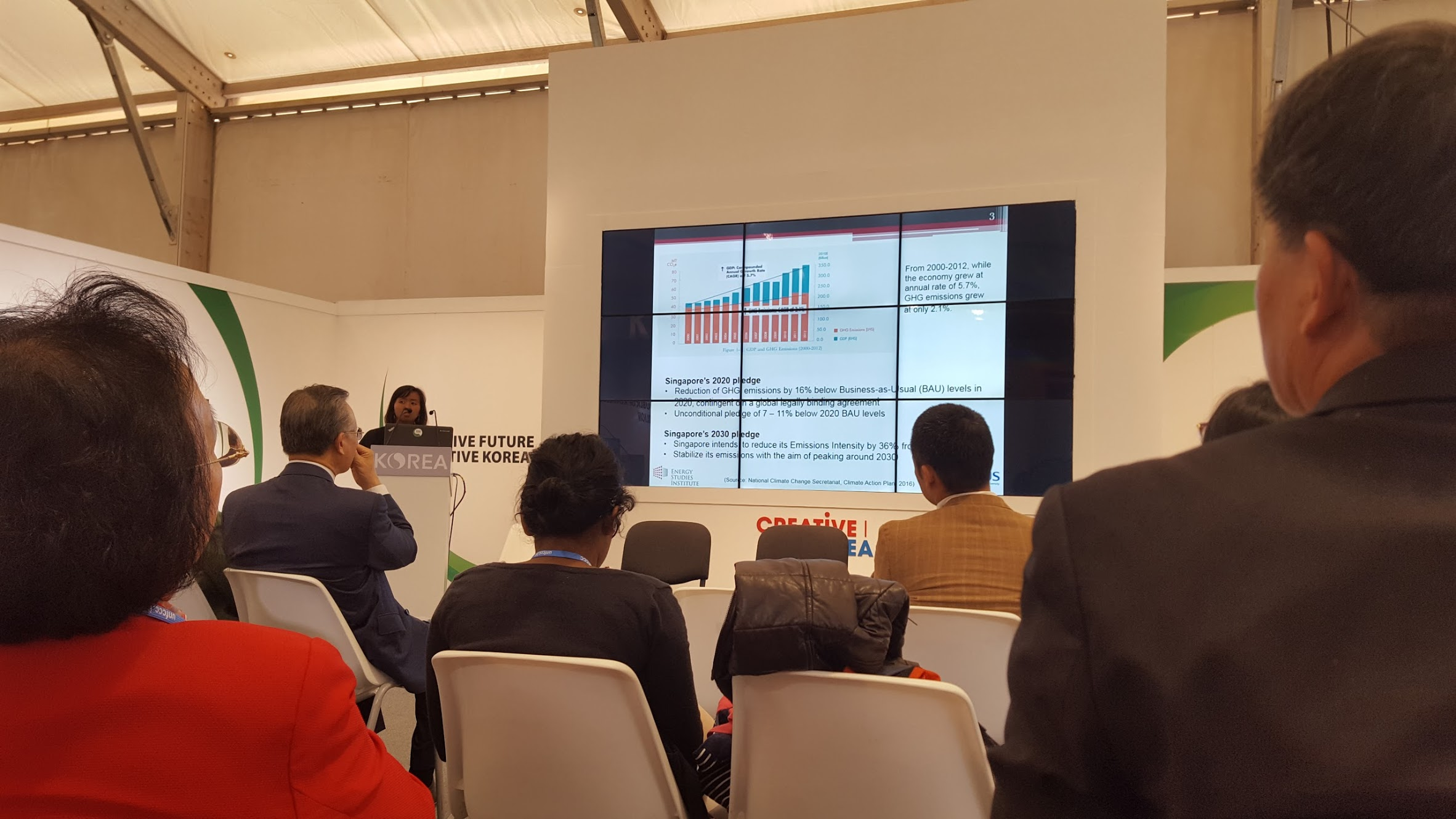 An event held at the Korea pavilion by Listrina Hamid, a participant from Singapore, focusing on the city-state's moves to combat climate change.